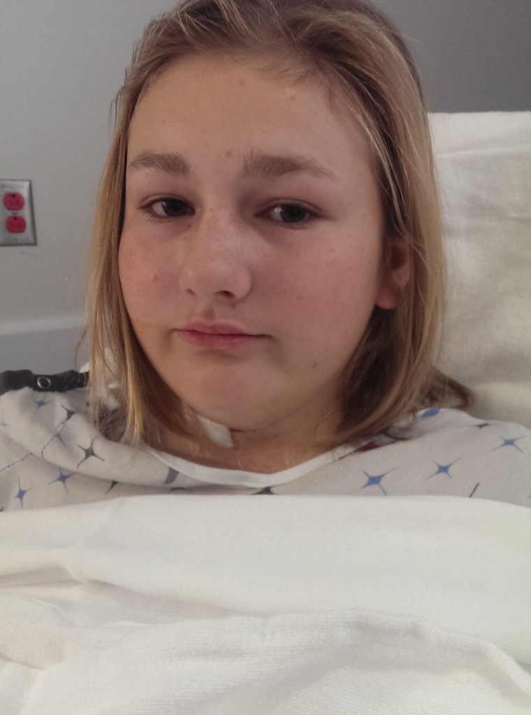 Katie Mogen after surgery